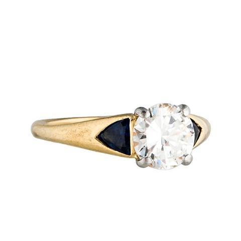 Three Stone Diamond and Sapphire Engagement Ring
