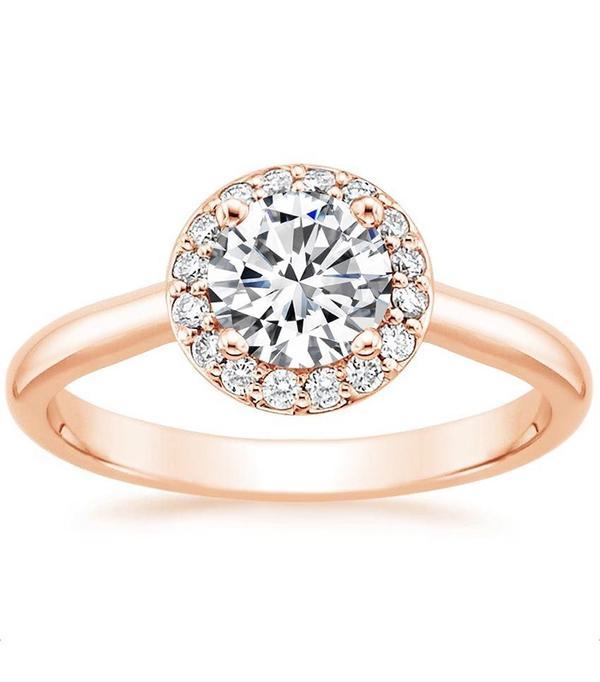 Brilliant Earth 14k Rose Gold Halo Diamond Ring