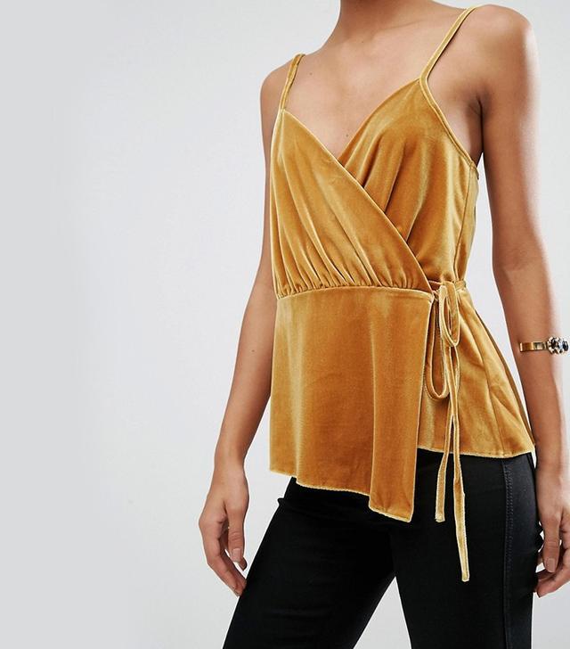ASOS Wrap Cami Top in Velvet