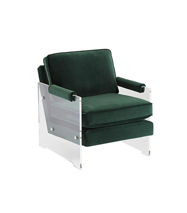 Lamps Plus Serena Green Velvet Floating Lucite Accent Chair