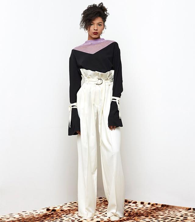 N-Duo Black Tasseled Blouse + Beige Trousers