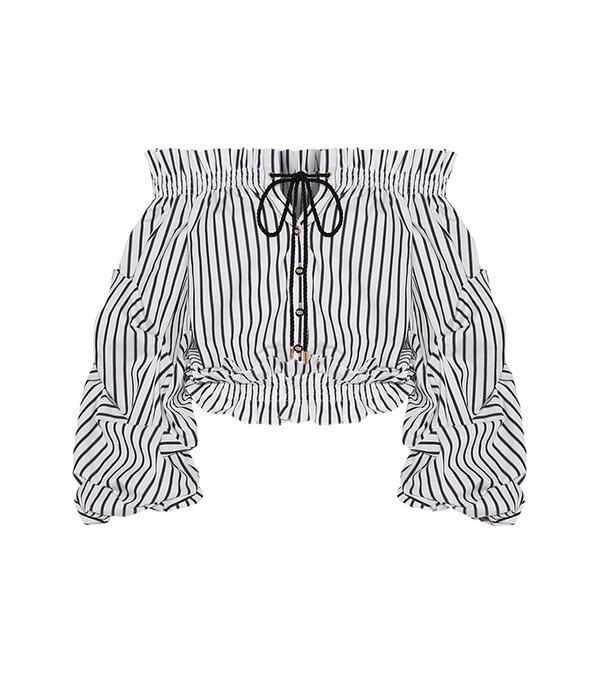 Lorena Off-the-shoulder Striped Cotton-poplin Top
