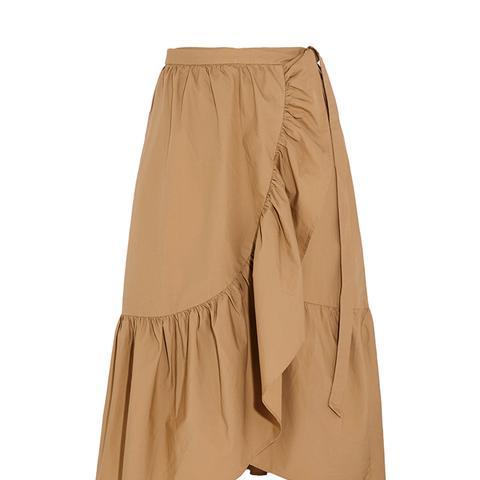 Ruffled Cotton-Poplin Wrap Skirt