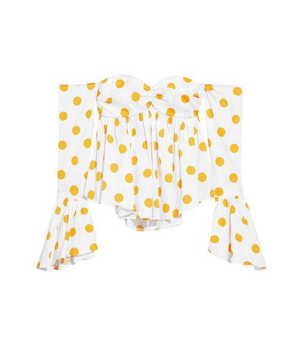 Off-the-shoulder Polka-dot Cotton-blend Poplin Top