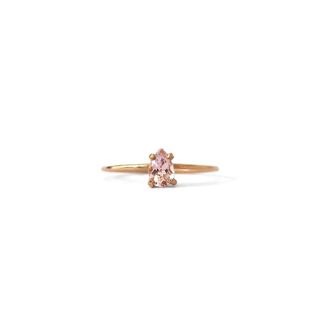 Natalie Marie Jewellery Tiny Pear Ring With Morganite