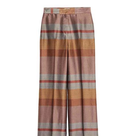 Jacquard-Weave Suit Trousers
