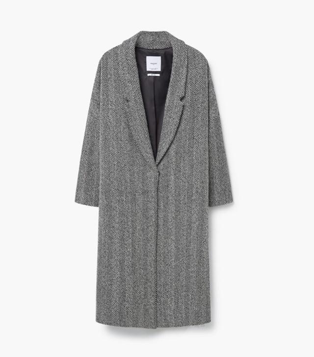 Mango Herringbone Pattern Wool Coat