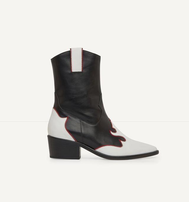 Maje Fuegan Leather Cowboy Boots