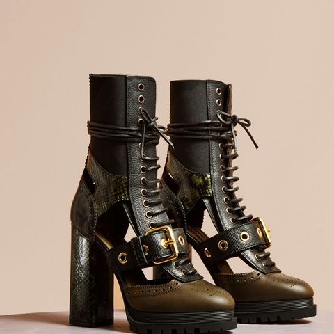 Leather and Snakeskin Cut-out Platform Boots
