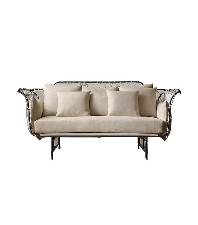 Restoration Hardware 19th-Century Upholstered Settee