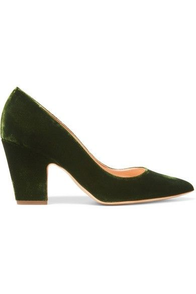 Rupert Sanderson Pierrot Velvet Point-toe Pumps