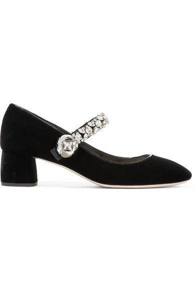 Miu Miu Crystal-embellished Velvet Mary Jane Pumps
