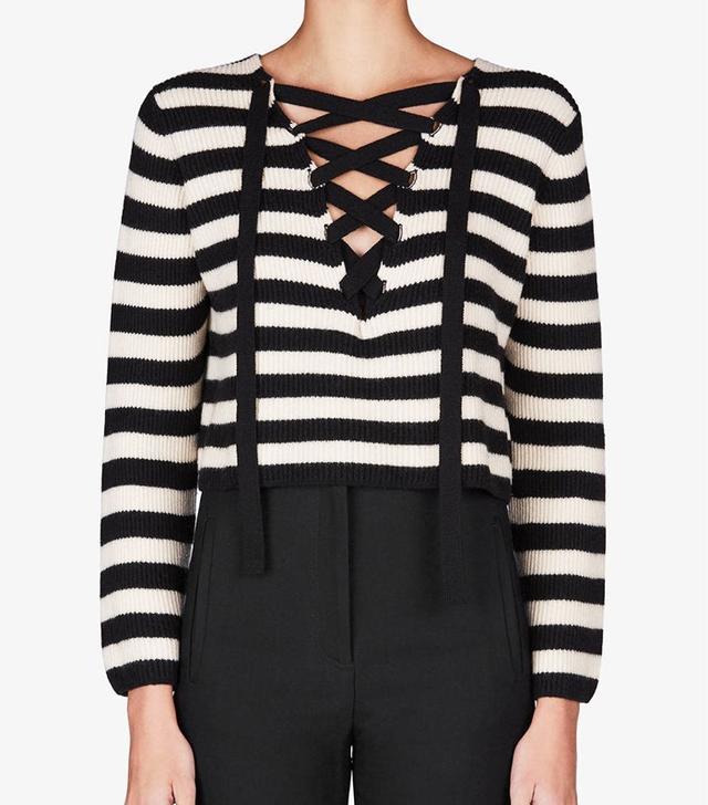 Khaite Lily Lace Up Slit V-Neck Sweater