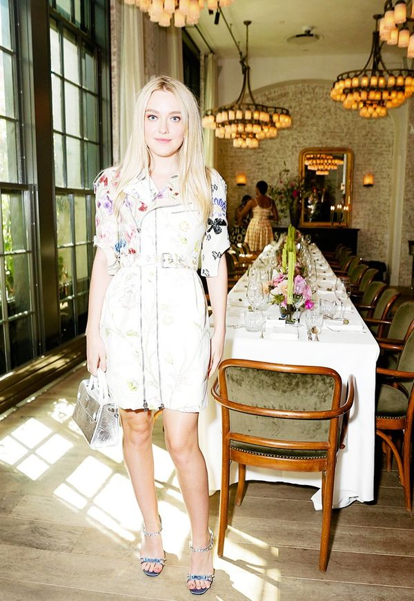 WHO: Dakota Fanning  WHAT: W It Girl Luncheon  WEAR: Alexander McQueen dress.