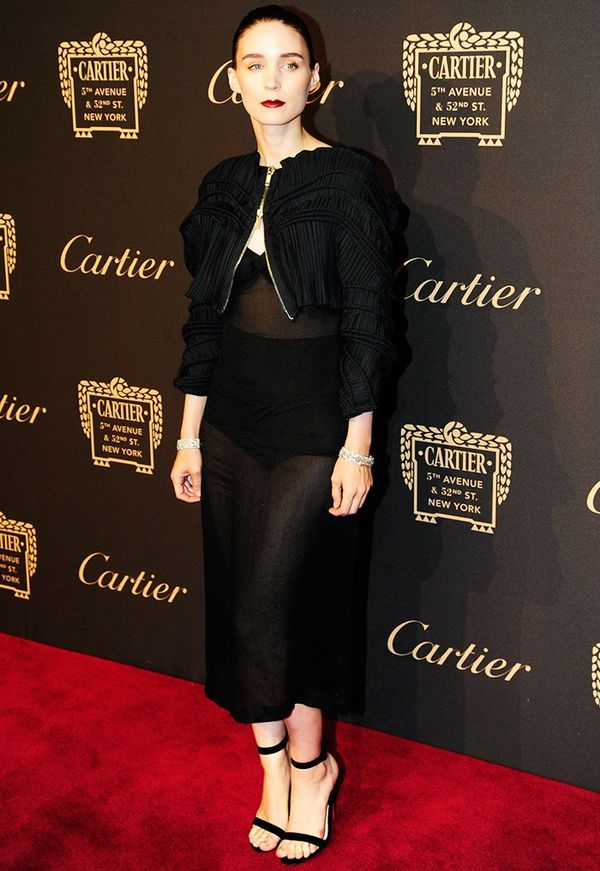 WHO:Rooney Mara WHAT:Cartier Fifth Avenue grand reopening event WEAR:Givenchy by Riccardo Tisci ensemble; Cartier jewels.