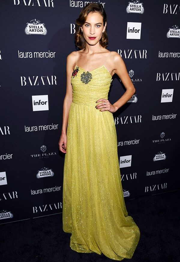 WHO:Alexa Chung WHAT:Harper's Bazaar Icons Party WHAT: Gucci dress.