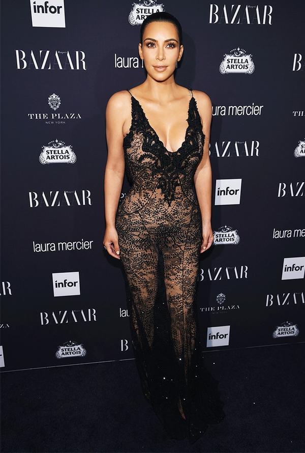 WHO:Kim Kardashian WHAT:Harper's Bazaar Icons Party WEAR: Givenchy dress.