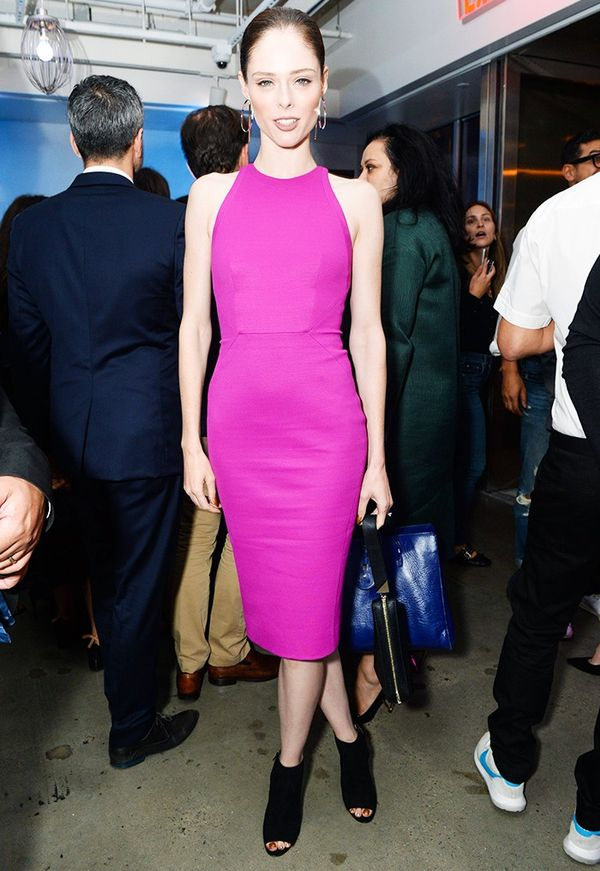 WHO: Coco Rocha  WHAT: W Magazine and Hugo Boss party WEAR: Zac Posen dress; Kurt Geiger Night Shoes ($290).