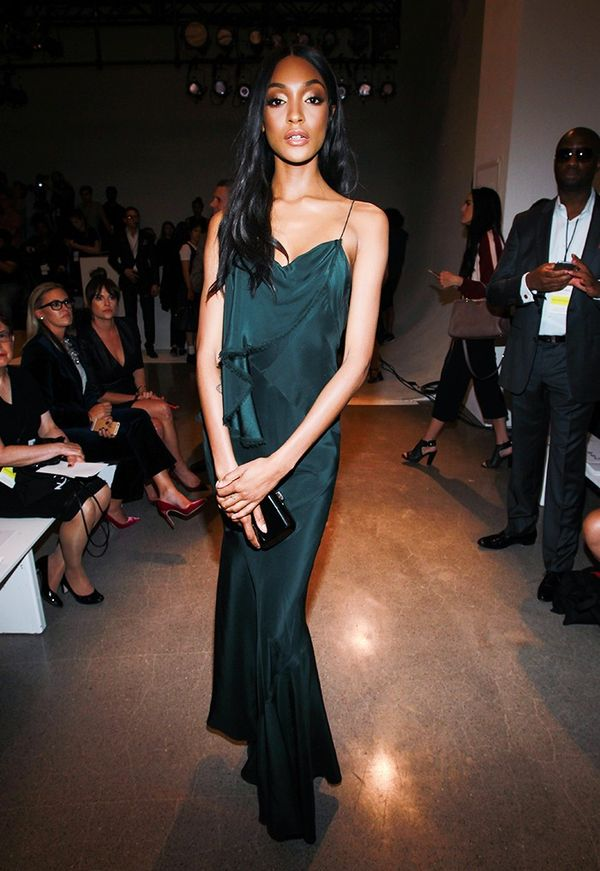 WHO: Jourdan Dunn WHAT: Zac Posen S/S17 show WEAR: Zac Posen dress.