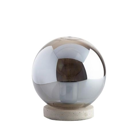 Smoke Gray Glass and Concrete Accent Lamp