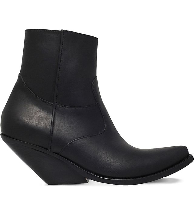 Vetements Slanted-Heel Leather Cowboy Boots