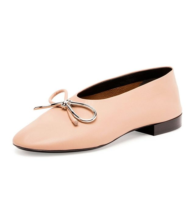 Balenciaga Leather Bow Ballerina Flats