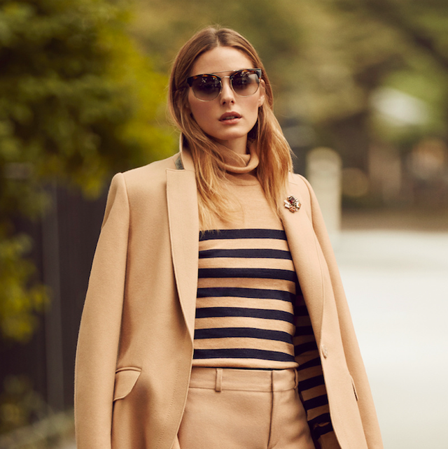 On Olivia Palermo: Banana Republic Melton Wool Buttoned Top Coat ($298), Merino Stripe Turtleneck ($68), and Avery-Fit Flannel Pants ($110).