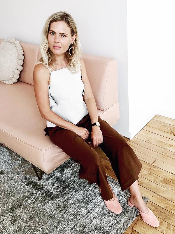 On Jessie Bush: Amber Sceats earrings; JH.Zane top; Larsson & Jennings watch; House of Sunny Fit and Flare Culottes($54); Loeffler Randall heels.