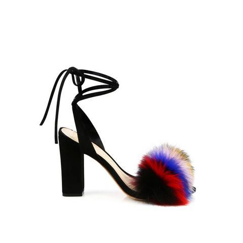 Nicolette Multicolor Fox Fur & Suede Ankle-Wrap Sandals