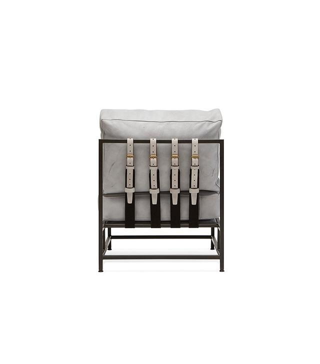 Stephen Kenn Stone Leather & Blackened Steel Frame Chair