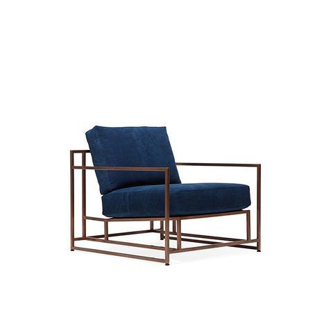 Indigo Canvas and Copper Armchair