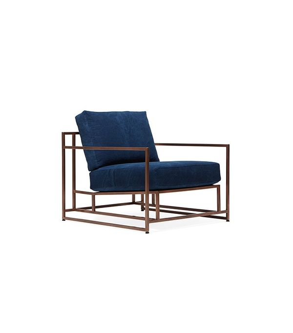 Stephen Kenn Indigo Canvas And Copper Armchair ($2800)