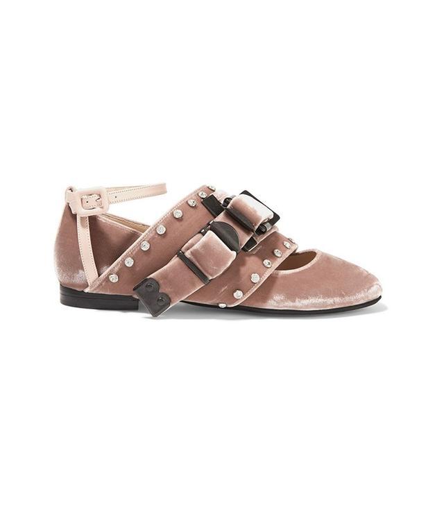 No. 21 Leather-Trimmed Crystal Embellished Velvet Ballet Flats