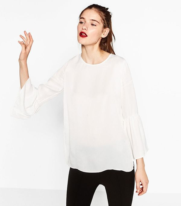 Zara Flared Sleeve Blouse