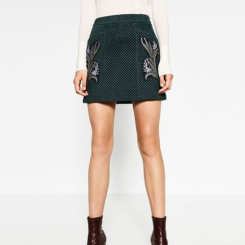Printed Leather A-Line Skirt