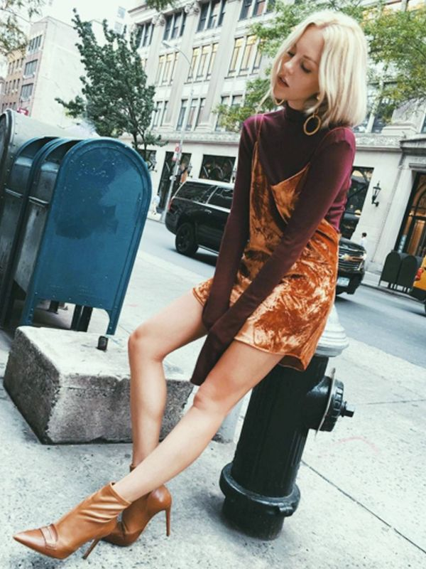 how to wear a slip dress in autumn winter: