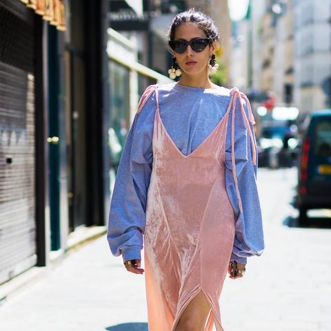 how to wear a slip dress in autumn winter: Gilda Ambrosio wears a slip dress