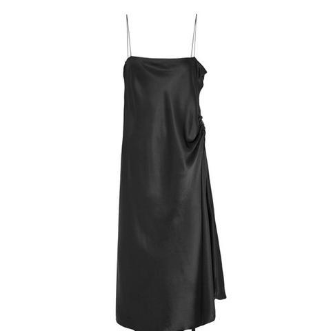 Tony Grosgrain-Trimmed Silk-Satin Midi Dress