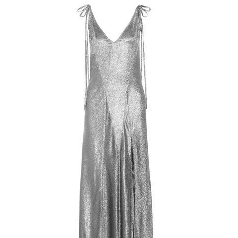 Marisa Stretch Silk-Blend Lamé Maxi Dress