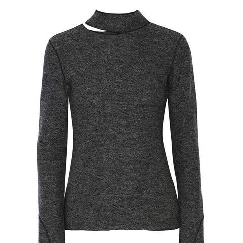Cutout Wool Turtleneck Sweater