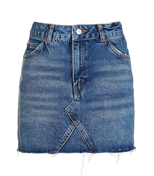 Topshop Moto Denim High Waist Pelmet Skirt