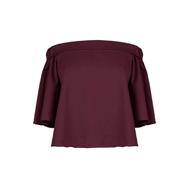 Tibi Satin Poplin Off-The-Shoulder Top