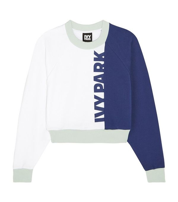 Ivy Park Cropped Color-Block Cotton-Jersey Sweatshirt