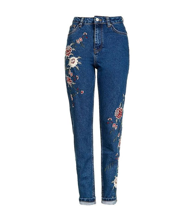 Topshop Moto Dark Blue Embroidered Mom Jeans