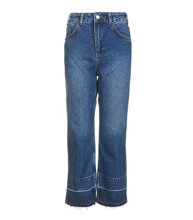 Topshop Moto Let Down Hem Wide Leg Jeans