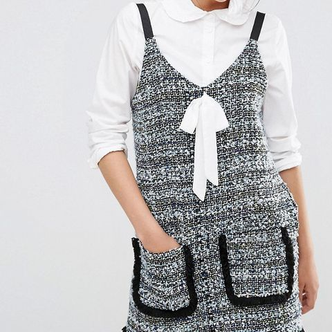 Tweed Pinafore Slip Dress