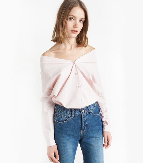 Pixie Market Pink Off the Shoulder Shirt