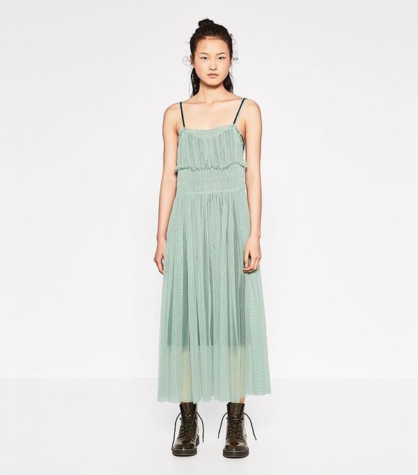 Zara Gathered Tulle Dress