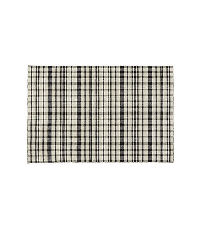 CB2 Black and White Check Rug