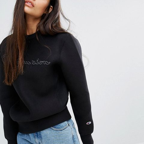 Oversized Sweatshirt With Shadow Script Embroidery